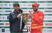 13 September 2021; Team captain Andrew Balbirnie of Ireland and Craig Ervine of Zimbabwe with the Dafanews International Cup after match three of the drawn Dafanews International Cup ODI series between Ireland and Zimbabwe at Stormont in Belfast. Photo by Seb Daly/Sportsfile