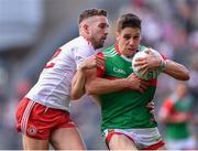 11 September 2021; Lee Keegan of Mayo in action against Niall Sludden of Tyrone during the GAA Football All-Ireland Senior Championship Final match between Mayo and Tyrone at Croke Park in Dublin. Photo by Piaras Ó Mídheach/Sportsfile