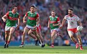 11 September 2021; Matthew Donnelly of Tyrone in action against Stephen Coen, 6, and Lee Keegan, 3, of Mayo during the GAA Football All-Ireland Senior Championship Final match between Mayo and Tyrone at Croke Park in Dublin. Photo by Piaras Ó Mídheach/Sportsfile