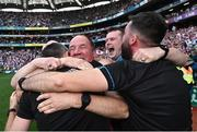 11 September 2021; Tyrone joint-manager Feargal Logan, centre, celebrates with his backroom team after the GAA Football All-Ireland Senior Championship Final match between Mayo and Tyrone at Croke Park in Dublin. Photo by Piaras Ó Mídheach/Sportsfile