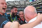11 September 2021; Tyrone joint-manager Brian Dooher, centre, celebrates with Tyrone strength and conditioning coach Peter Donnelly, left, and Tyrone selector Joe McMahon after the GAA Football All-Ireland Senior Championship Final match between Mayo and Tyrone at Croke Park in Dublin. Photo by Piaras Ó Mídheach/Sportsfile