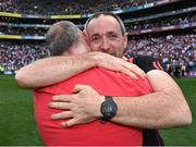 11 September 2021; Tyrone joint-manager Brian Dooher celebrates after the GAA Football All-Ireland Senior Championship Final match between Mayo and Tyrone at Croke Park in Dublin. Photo by Piaras Ó Mídheach/Sportsfile