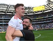 11 September 2021; Conor Meyler of Tyrone celebrates with Tyrone selector Joe McMahon after their side's victory in the GAA Football All-Ireland Senior Championship Final match between Mayo and Tyrone at Croke Park in Dublin. Photo by Piaras Ó Mídheach/Sportsfile