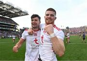 11 September 2021; Tyrone players Conor McKenna, left, and Cathal McShane celebrate their side's victory after the GAA Football All-Ireland Senior Championship Final match between Mayo and Tyrone at Croke Park in Dublin. Photo by Piaras Ó Mídheach/Sportsfile