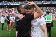 11 September 2021; Tyrone joint-manager Brian Dooher celebrates with Matthew Donnelly after their side's victory in the GAA Football All-Ireland Senior Championship Final match between Mayo and Tyrone at Croke Park in Dublin. Photo by Piaras Ó Mídheach/Sportsfile
