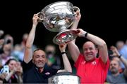 11 September 2021; Tyrone joint-managers Brian Dooher, left, and Feargal Logan lift the Sam Maguire Cup after the GAA Football All-Ireland Senior Championship Final match between Mayo and Tyrone at Croke Park in Dublin. Photo by Piaras Ó Mídheach/Sportsfile
