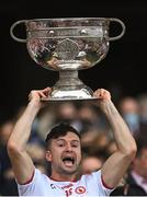 11 September 2021; Conor McKenna of Tyrone lifts the Sam Maguire Cup after the GAA Football All-Ireland Senior Championship Final match between Mayo and Tyrone at Croke Park in Dublin. Photo by Piaras Ó Mídheach/Sportsfile