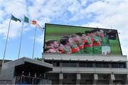 11 September 2021; The Mayo team are seen on the big screen as they stand for Amhrán na bhFiann before the GAA Football All-Ireland Senior Championship Final match between Mayo and Tyrone at Croke Park in Dublin. Photo by Brendan Moran/Sportsfile