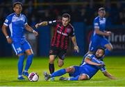13 September 2021; Liam Burt of Bohemians is tackled by David Webster of Finn Harps during the SSE Airtricity League Premier Division match between Finn Harps and Bohemians at Finn Park in Ballybofey, Donegal. Photo by Ramsey Cardy/Sportsfile