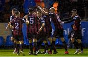 13 September 2021; Bohemians players celebrates their side's first goal scored by Promise Omochere during the SSE Airtricity League Premier Division match between Finn Harps and Bohemians at Finn Park in Ballybofey, Donegal. Photo by Ramsey Cardy/Sportsfile