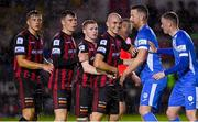 13 September 2021; Bohemians and Finn Harps players jostle for position before a corner kick during the SSE Airtricity League Premier Division match between Finn Harps and Bohemians at Finn Park in Ballybofey, Donegal. Photo by Ramsey Cardy/Sportsfile
