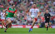 11 September 2021; Pádraig Hampsey of Tyrone in action against Darren Coen of Mayo during the GAA Football All-Ireland Senior Championship Final match between Mayo and Tyrone at Croke Park in Dublin. Photo by Brendan Moran/Sportsfile