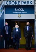 11 September 2021; President of Ireland Michael D Higgins with Uachtarán Chumann Lúthchleas Gael Larry McCarthy before the GAA Football All-Ireland Senior Championship Final match between Mayo and Tyrone at Croke Park in Dublin. Photo by Brendan Moran/Sportsfile