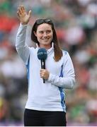 11 September 2021; Solheim Cup winner Leona Maguire is introduced to the crowd at half-time of the GAA Football All-Ireland Senior Championship Final match between Mayo and Tyrone at Croke Park in Dublin. Photo by Brendan Moran/Sportsfile