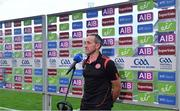 11 September 2021; Tyrone joint-manager Brian Dooher is interviewed by TV after the GAA Football All-Ireland Senior Championship Final match between Mayo and Tyrone at Croke Park in Dublin. Photo by Brendan Moran/Sportsfile