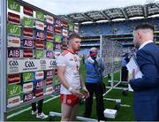 11 September 2021; Cathal McShane of Tyrone is interviewed by TV after the GAA Football All-Ireland Senior Championship Final match between Mayo and Tyrone at Croke Park in Dublin. Photo by Brendan Moran/Sportsfile