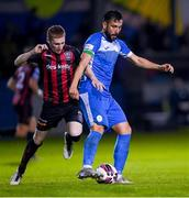 13 September 2021; David Webster of Finn Harps is tackled by Ross Tierney of Bohemians during the SSE Airtricity League Premier Division match between Finn Harps and Bohemians at Finn Park in Ballybofey, Donegal. Photo by Ramsey Cardy/Sportsfile