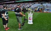 11 September 2021; A TV steadicam films the Sam Maguire Cup before the teams emerge from the tunnel prior to the GAA Football All-Ireland Senior Championship Final match between Mayo and Tyrone at Croke Park in Dublin. Photo by Brendan Moran/Sportsfile