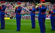 11 September 2021; The Mayo team stand as the Artane Band recite Amhrán na bhFiann before the GAA Football All-Ireland Senior Championship Final match between Mayo and Tyrone at Croke Park in Dublin. Photo by Brendan Moran/Sportsfile