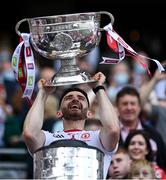11 September 2021; Tyrone captain Pádraig Hampsey lifts the Sam Maguire Cup after the GAA Football All-Ireland Senior Championship Final match between Mayo and Tyrone at Croke Park in Dublin. Photo by Piaras Ó Mídheach/Sportsfile