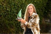 14 September 2021; Clíodhna Ní Shé of Carlow is pictured with The Croke Park/LGFA Player of the Month award for August, at The Croke Park in Jones Road, Dublin. Photo by Matt Browne/Sportsfile