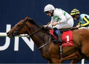 14 September 2021; Alizarine, with Chris Hayes up, on their way to winning the Irish Stallion Farms EBF Fillies Maiden at Punchestown Racecourse in Kildare. Photo by Matt Browne/Sportsfile