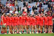 12 September 2021; Cork players stand for Amhrán na bhFiann before the All-Ireland Senior Camogie Championship Final match between Cork and Galway at Croke Park in Dublin. Photo by Piaras Ó Mídheach/Sportsfile