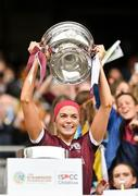 12 September 2021; Galway captain Sarah Dervan lifts the O'Duffy Cup after the All-Ireland Senior Camogie Championship Final match between Cork and Galway at Croke Park in Dublin. Photo by Piaras Ó Mídheach/Sportsfile
