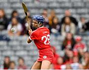 12 September 2021; Orla Cronin of Cork takes a free during the All-Ireland Senior Camogie Championship Final match between Cork and Galway at Croke Park in Dublin. Photo by Piaras Ó Mídheach/Sportsfile
