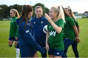 14 September 2021; Katie McCabe, centre, with Clare Shine, left, and Denise O'Sullivan, right, during a Republic of Ireland training session at the FAI National Training Centre in Abbotstown, Dublin. Photo by Stephen McCarthy/Sportsfile