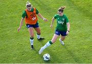 14 September 2021; Emily Whelan and Saoirse Noonan, left, during a Republic of Ireland training session at the FAI National Training Centre in Abbotstown, Dublin. Photo by Stephen McCarthy/Sportsfile