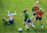 14 September 2021; Emily Whelan in action against team-mates, from left, Heather Payne, Amber Barrett and Saoirse Noonan, right, during a Republic of Ireland training session at the FAI National Training Centre in Abbotstown, Dublin. Photo by Stephen McCarthy/Sportsfile