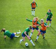 14 September 2021; Emily Whelan in action against team-mates, from left, Heather Payne, Amber Barrett Isibeal Atkinson, top, Saoirse Noonan and Ciara Grant during a Republic of Ireland training session at the FAI National Training Centre in Abbotstown, Dublin. Photo by Stephen McCarthy/Sportsfile