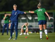 14 September 2021; Manager Vera Pauw and Saoirse Noonan during a Republic of Ireland training session at the FAI National Training Centre in Abbotstown, Dublin. Photo by Stephen McCarthy/Sportsfile