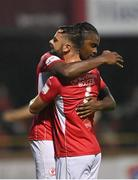 14 September 2021; Andre Wright of Sligo Rovers, right, is congratulated by team-mate Greg Bolger after scoring their side's first goal during the SSE Airtricity League Premier Division match between Sligo Rovers and Dundalk at The Showgrounds in Sligo. Photo by Seb Daly/Sportsfile