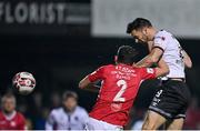 14 September 2021; Patrick Hoban of Dundalk in action against Lewis Banks of Sligo Rovers during the SSE Airtricity League Premier Division match between Sligo Rovers and Dundalk at The Showgrounds in Sligo. Photo by Seb Daly/Sportsfile