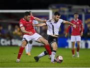 14 September 2021; Patrick Hoban of Dundalk in action against Garry Buckley of Sligo Rovers during the SSE Airtricity League Premier Division match between Sligo Rovers and Dundalk at The Showgrounds in Sligo. Photo by Seb Daly/Sportsfile