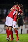 14 September 2021; Colm Horgan, right, and Lewis Banks of Sligo Rovers celebrate at the final whistle after their side's victory in the SSE Airtricity League Premier Division match between Sligo Rovers and Dundalk at The Showgrounds in Sligo. Photo by Seb Daly/Sportsfile