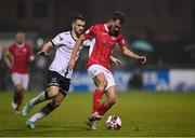 14 September 2021; Lewis Banks of Sligo Rovers in action against Michael Duffy of Dundalk during the SSE Airtricity League Premier Division match between Sligo Rovers and Dundalk at The Showgrounds in Sligo. Photo by Seb Daly/Sportsfile