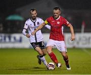 14 September 2021; David Cawley of Sligo Rovers in action against Cameron Dummigan of Dundalk during the SSE Airtricity League Premier Division match between Sligo Rovers and Dundalk at The Showgrounds in Sligo. Photo by Seb Daly/Sportsfile