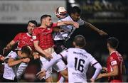 14 September 2021; Garry Buckley and John Mahon, left, of Sligo Rovers in action against Sonni Nattestad of Dundalk during the SSE Airtricity League Premier Division match between Sligo Rovers and Dundalk at The Showgrounds in Sligo. Photo by Seb Daly/Sportsfile