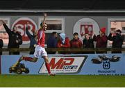 14 September 2021; Lewis Banks of Sligo Rovers celebrates after scoring his side's second goal during the SSE Airtricity League Premier Division match between Sligo Rovers and Dundalk at The Showgrounds in Sligo. Photo by Seb Daly/Sportsfile
