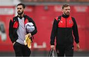 14 September 2021; Sami Ben Amar, left, and Andy Boyle of Dundalk before the SSE Airtricity League Premier Division match between Sligo Rovers and Dundalk at The Showgrounds in Sligo. Photo by Seb Daly/Sportsfile