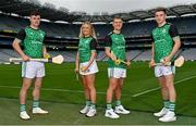 15 September 2021; Today saw the launch of the 2021 M. Donnelly GAA All-Ireland Poc Fada Finals by Uachtarán Chumann Lúthchleas Gael, Larry McCarthy, and Uachtarán an Cumann Camógaíochta Hilda Breslin. The All-Ireland Poc Fada finals in Hurling and Camogie will be held on the Cooley Mountains on Saturday 25th September. Pictured at the launch in Croke Park, Dublin, are, from left, Kilcormac-Killoughey hurler Cillian Kiely, Antrim Camogie player, Kilkenny hurler Eoin Murphy and Kilcormac-Killoughey hurler Cathal Kiely. Photo by Seb Daly/Sportsfile