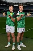 15 September 2021; Today saw the launch of the 2021 M. Donnelly GAA All-Ireland Poc Fada Finals by Uachtarán Chumann Lúthchleas Gael, Larry McCarthy, and Uachtarán an Cumann Camógaíochta Hilda Breslin. The All-Ireland Poc Fada finals in Hurling and Camogie will be held on the Cooley Mountains on Saturday 25th September. Pictured at the launch in Croke Park, Dublin, are Kilcormac-Killoughey hurlers Cillian Kiely, left, and Cathal Kiely. Photo by Seb Daly/Sportsfile
