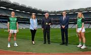 15 September 2021; Today saw the launch of the 2021 M. Donnelly GAA All-Ireland Poc Fada Finals by Uachtarán Chumann Lúthchleas Gael, Larry McCarthy, and Uachtarán an Cumann Camógaíochta Hilda Breslin. The All-Ireland Poc Fada finals in Hurling and Camogie will be held on the Cooley Mountains on Saturday 25th September. Pictured at the launch in Croke Park, Dublin, are, from left, Kilkenny hurler Eoin Murphy, Uachtarán an Cumann Camógaíochta Hilda Breslin, sponsor Martin Donnelly, Uachtarán Chumann Lúthchleas Gael Larry McCarthy, and Antrim Camogie player Roisin McCormack. Photo by Seb Daly/Sportsfile
