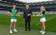 15 September 2021; Today saw the launch of the 2021 M. Donnelly GAA All-Ireland Poc Fada Finals by Uachtarán Chumann Lúthchleas Gael, Larry McCarthy, and Uachtarán an Cumann Camógaíochta Hilda Breslin. The All-Ireland Poc Fada finals in Hurling and Camogie will be held on the Cooley Mountains on Saturday 25th September. Pictured at the launch in Croke Park, Dublin, are, from left, Kilkenny hurler Eoin Murphy, sponsor Martin Donnelly, and Antrim Camogie player Roisin McCormack. Photo by Seb Daly/Sportsfile