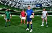 15 September 2021; Garry Ringrose of Leinster, with from left, Paul Boyle of Connacht, Chris Farrell of Munster and Kieran Treadwell of Ulster during the United Rugby Championship launch at the Aviva Stadium in Dublin. Photo by Brendan Moran/Sportsfile