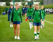15 September 2021; Saoirse Noonan, left, and Aoibheann Clancy during a Republic of Ireland training session at the FAI National Training Centre in Abbotstown, Dublin. Photo by Stephen McCarthy/Sportsfile