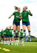 15 September 2021; Ruesha Littlejohn, left, and Louise Quinn during a Republic of Ireland training session at the FAI National Training Centre in Abbotstown, Dublin. Photo by Stephen McCarthy/Sportsfile